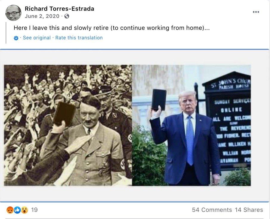 (DCNF Photo) Screenshot of June 2, 2020, Facebook post from Richard Torres-Estrada